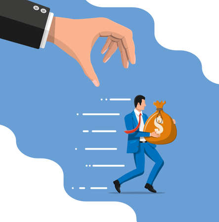 Hand tries to grab the bag of money running businessman. Stealing money, tax, debt, fee, crisis and bankruptcy. Protection, banking, property. Vector illustration in flat style