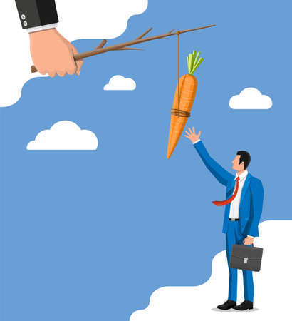 Carrot on a stick in hand and businessman. Motivation, stimulus, incentive and reaching goal concept metaphor. Fishing wooden stick with hanging carrot