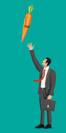 Carrot on a stick and businessman. Motivation, stimulus, incentive and reaching goal concept metaphor. Fishing wooden stick with hanging carrot 일러스트