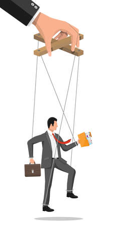 Businessman marionette is hanging on ropes.