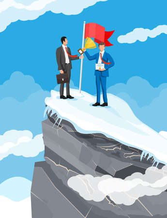 Businessman standing on top of mountain with flag. 向量圖像