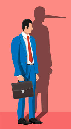 Businessman with long nose shadow on wall. Liar, lying people in business. Cheat, fraud, scam, hoax and crime. Vector illustration in flat style