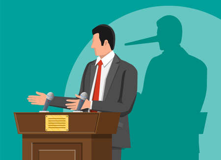 Businessman with long nose shadow on wall. Orator speaking from tribune. Public speaker. Liar, lying people in business. Cheat, fraud, scam, hoax and crime. Vector illustration in flat style