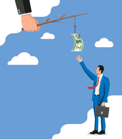 Businessman trying to get dollar on fishing hook. Money trap concept. Hidden wages, salaries black payments, tax evasion, bribe. Anti corruption. Vector illustration in flat style Illustration
