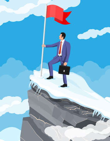 Businessman standing on top of mountain with flag. Symbol of victory, successful mission, goal and achievement. Trials and testing. Win, business success. Flat vector illustration