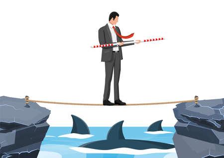 Businessman walking a tightrope over shark in water. Businessman in suit walking on rope with balancer. Obstacle on road, financial crisis. Risk management challenge. Flat vector illustration Illusztráció