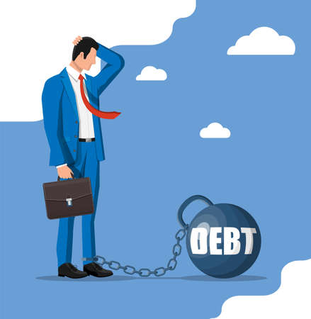Businessman chained to big heavy debt weight Stock Illustratie