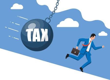Businessman running away from huge tax pendulum.