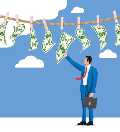 Businessman trying get wet dollar bills hanging on rope. Money laundering. Dirty money. Hidden wages, salaries black payments, tax evasion, bribe. Anti corruption. Flat vector illustration
