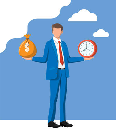 Businessman with clock and money in hands. Annual revenue, financial investment, savings, scales, bank deposit, future income, money benefit. Time is money concept. Vector illustration in flat style Illusztráció