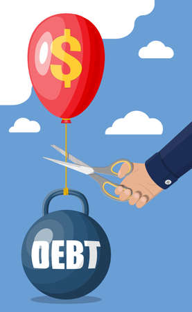 Businessman hand with scissors cutting debt balloon string. Big heavy debt weight with shackles and money. Tax burden, financial crime, fee, crisis and bankruptcy. Vector illustration in flat style