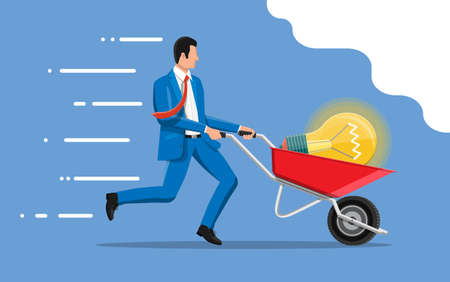 Businessman pushing wheelbarrow with light idea bulb. Concept of creative idea or inspiration, business start up. Glass bulb with spiral in flat style. Vector illustration