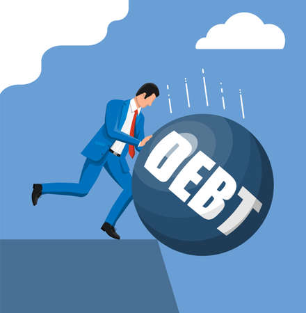 Businessman pushing debt weight out. Big heavy debt weight budren and business man in suit. Tax burden, financial crime, fee, crisis and bankruptcy. Vector illustration in flat style