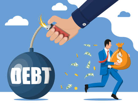 Businessman with big heavy sack full of cash run away from debt bomb. Business man corporate slavery. Tax, debt, fee, crisis and bankruptcy. Flat vector illustration