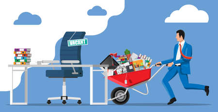 Office desk chair, sign vacancy. Employee with wheelbarrow with office goods. Hiring and recruiting. Human resources management, searching professional staff, work, resume. Flat vector illustration Vecteurs
