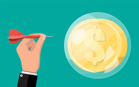Hand throw dart in soap bubble with golden dollar coin. Concept of economy problem or financial crisis, recession, inflation, bankruptcy, income lost, loss of capital. Vector illustration flat style