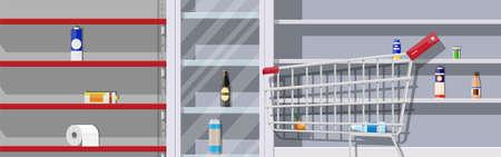 Interior of supermarket with empty shelves. Ilustración de vector