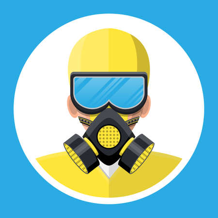 Man in yellow hazmat suit with respirator. Medical personal in uniform in safety mask. Healthcare, hospital and medical diagnostics. Urgency and emergency services. Vector illustration in flat style