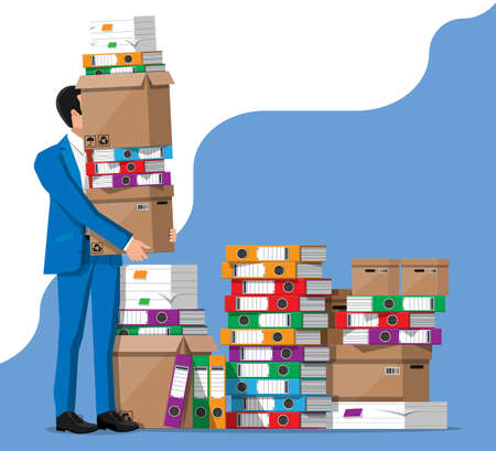 Stressed businessman and pile of office folders, documents. Overworked business man with stacks of papers. Stress at work. Bureaucracy, paperwork, big data. Vector illustration in flat style Illustration