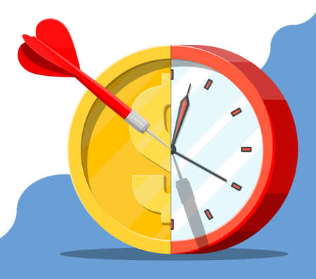 Target with dart and gold coin clocks. Goal setting. Smart goal. Business target concept. Achievement and success. Time is money. Vector illustration in flat style