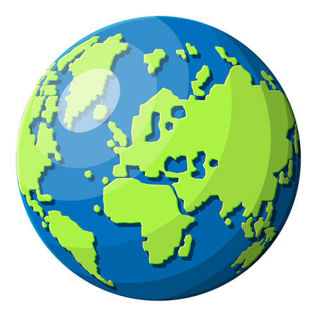 World map silhouette. Planet earth. Cartography and geography. Vector illustration in flat style  イラスト・ベクター素材