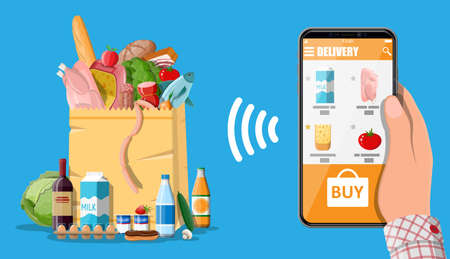 Hand holding smartphone with shopping app. Grocery store delivery. Internet order. Online supermaket. Paper shopping bag with food and drinks. Milk, vegetables, meat, cheese. Flat vector illustration