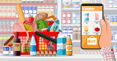 Hand holding smartphone with shopping app. Grocery store delivery. Internet order. Online supermaket. Shopping basket with food and drinks. Milk, vegetables, meat, cheese. Flat vector illustration