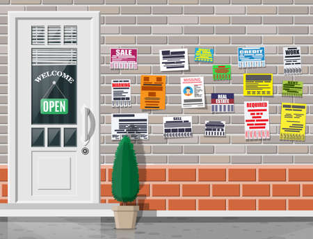 Various tear off papers ad on on brick wall. Advertisement and announcement in big city. Door on city street. Sell, rent, missing human, credit, work, money. Vector illustration in flat style