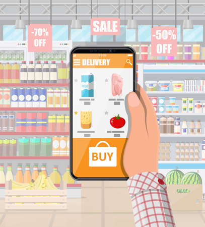 Hand holding smartphone with shopping app. Grocery store delivery. Internet order. Online supermaket. Shop interior with food and drinks. Milk, vegetables, meat, cheese. Flat vector illustration