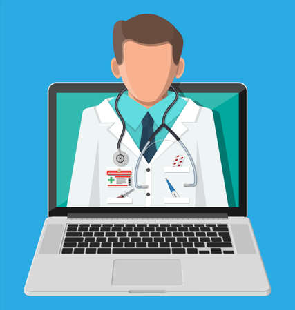 Laptop with internet pharmacy shopping app. Pills and bottles, medicine online. Medical assistance, help, support online. Health care application on smartphone. Vector illustration in flat style Vetores