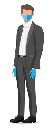 Businessman wearing virus protection medical face mask and rubber gloves. Disposable mask on person face. Cloth respirator. Prevention against virus covid-19 coronavirus ncov. Flat vector illustration Vector Illustratie