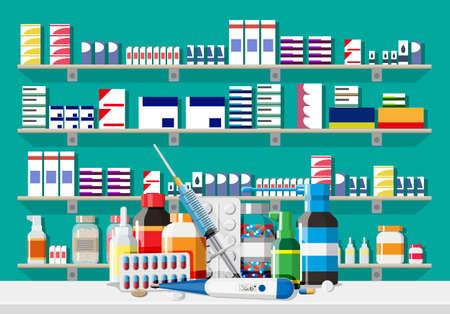 Modern interior of pharmacy. Medicine pills capsules bottles vitamins and tablets. Drugstore showcase. Shelves with medicines. Medical drug, vitamin, antibiotic healthcare. Flar vector illustration
