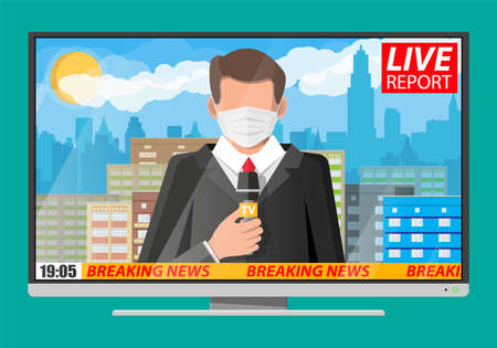 TV news anchorman in mask reads world news about covid-19 coronavirus ncov. Main news reader on television program. Media, journalism and press. Flat vector illustration