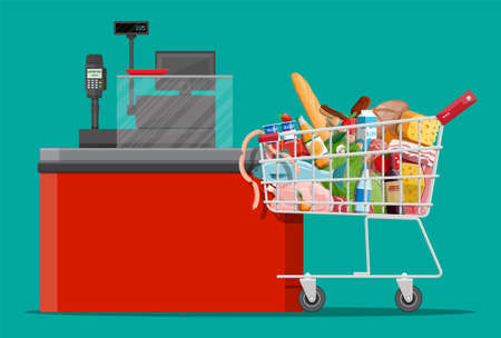 Groceries in checkout counter. Grocery store collection. Supermarket. Fresh organic food drinks. Milk, vegetables meat chicken cheese sausages, wine fruits, fish cereal juice. Flat vector illustration Vecteurs