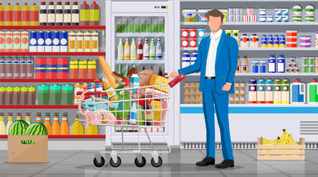 Supermarket store interior with goods. Big shopping mall. Interior store inside. Customer with basket full of food. Grocery, drinks, fruits, dairy products. Vector illustration in flat style Ilustracje wektorowe