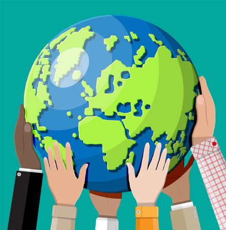 Hands reaching for the Earth. Different skin color people together holding planet. Tolerance, race equality, human diversity, climate change, global warming, ecology concept. Flat vector illustration