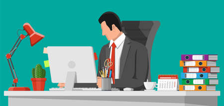 Businessman at work. Office desk with computer chair, lamp, coffee cup, cactus document papers. Calendar, stationery, folders. Modern business workplace. Home workspace table. Flat vector illustration Çizim