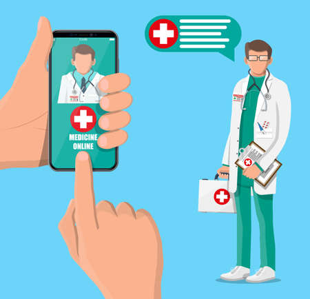Mobile phone with telemedicine app. Pills and bottles, medicine online. Medical assistance, help, support. Doctor with first aid kit. Health care application on smartphone. Flat vector illustration