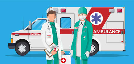 Ambulance staff concept. Doctor in white coat with stethoscope and case. Ambulance car, emergency vehicle. Healthcare, hospital and medical diagnostics. Urgency services. Flat vector illustration Ilustracja