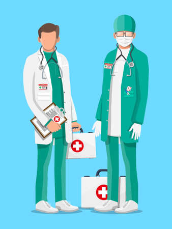 Two doctors in coat with stethoscope and case. Medical suit with different pills and medical devices in pockets. Healthcare staff, hospital and medical diagnostics. Vector illustration in flat style