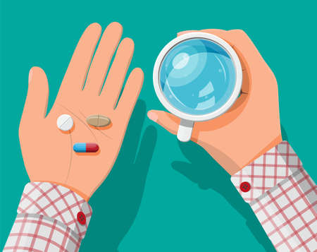 Glass of water in hand, pills, capsules for illness and pain treatment. Taking medication concept. Medical drug, vitamin, antibiotic. Healthcare and pharmacy. Vector illustration in flat style Vetores