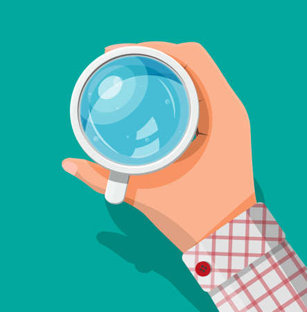 Hand holding cup with water isolated on green background. Glass of fresh pure mineral water. Carbonated soda drink. Top view. Vector illustration in flat style Vector Illustratie