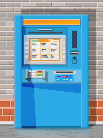 Bank ATM on street. Automatic teller machine. Program electronic device for payments and withdraw cash from plastic card. Economic, bank and finance industry. Vector illustration in flat style Vectores