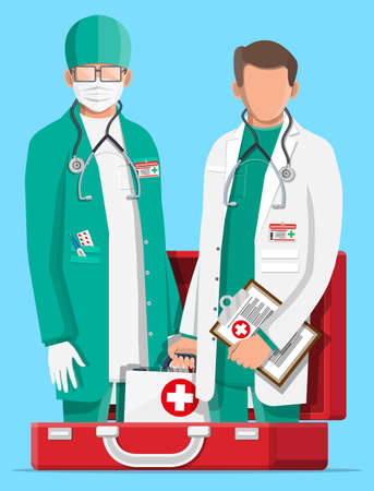 Two doctors in coat with stethoscope in fist aid kit. Medical suit with different pills and medical devices in pockets. Healthcare staff, hospital and medical diagnostics. Flat vector illustration Ilustracja