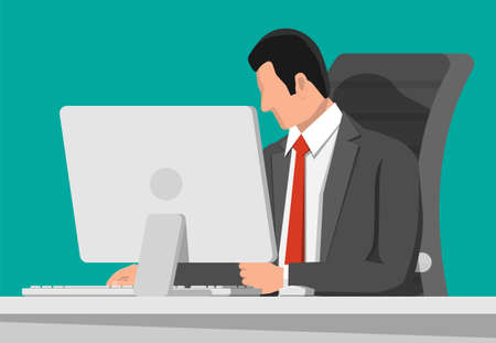 Businessman at work. Office desk with computer screen and chair. Business man in suit. Modern business workplace. Home workspace table. Flat vector illustration Çizim