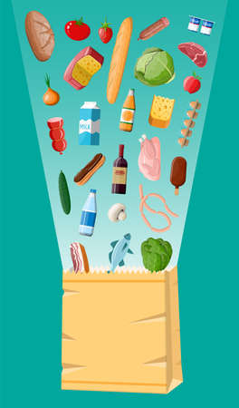 Shopping paper bag with fresh products. Grocery store, supermarket. Food and drinks. Milk, vegetables, meat, chicken cheese, sausages, salad, bread cereal steak egg. Vector illustration flat style