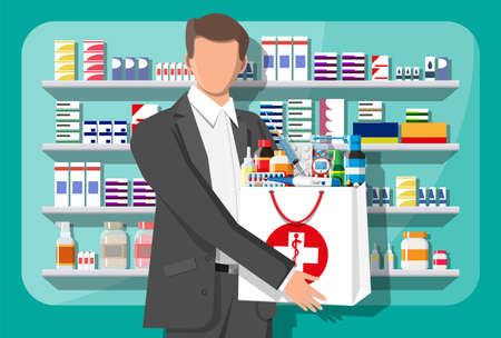 Man holding drugstore bag in front of pharmacy shop. Set of bottles, tablets, pills, capsules and sprays for illness and pain treatment. Medical drug, vitamin, antibiotic. Flat vector illustration Ilustracja