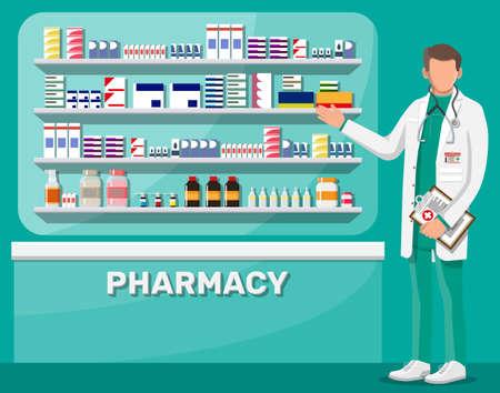 Modern interior of pharmacy and male pharmacist.