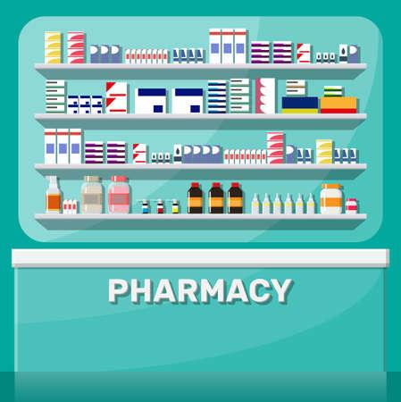 Modern interior of pharmacy.