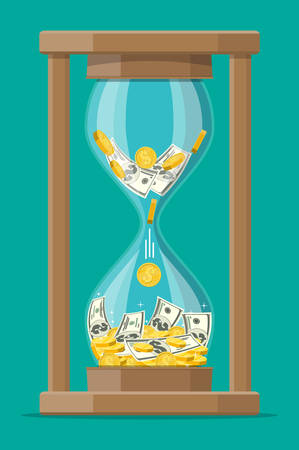 Money with hourglass clock.